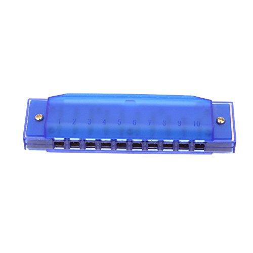 Armonica - TOOGOO(R)Armonica diatonica 10 agujeros Arpa azul organo bucal C Tecla Instrumento de cana con caja Juguete musical de nino Azul