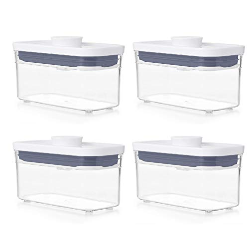 OXO Good Grips POP Container - Airtight Food Storage - 0.4 Qt Rectangle (Set of 4) for Baking Soda and More
