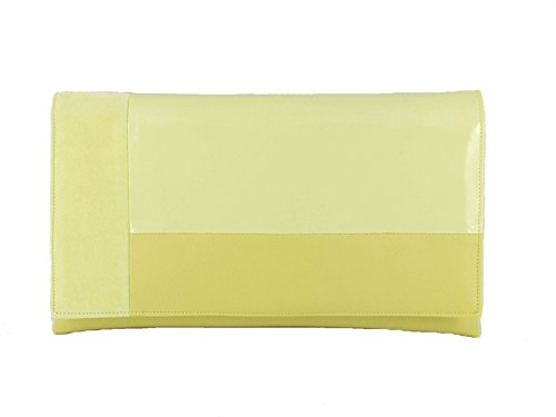 LONI Bolso de hombro de embrague en contraste de cuero sintético charol gamuza, amarillo limón (Amarillo) - LONI
