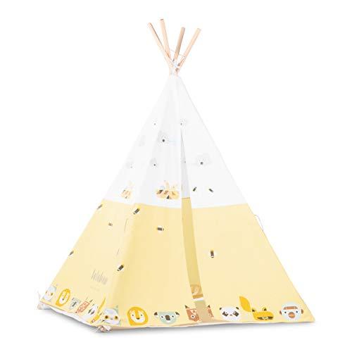 Lalaloom SAVANAH TIPI - Tipi niños de tela algodón interior amarillo y blanco diseño exclusivo juego tienda campaña infantil con dibujos de animales 120x120x150cm