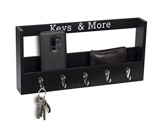 Metradex Schlüsselbrett aus Holz mit Ablage und 5 Schlüsselhaken: Schlüsselleiste Schlüsselkasten Schlüsselboard Schwarz