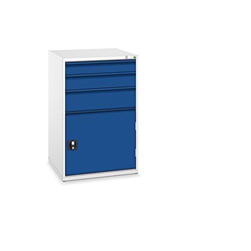 bott verso+ Schubladenschrank mit 3 Schubladen, 1 Tür und Zentralschloss, 650 x 650 x 1000 mm, 1 Stück, 40034029.11