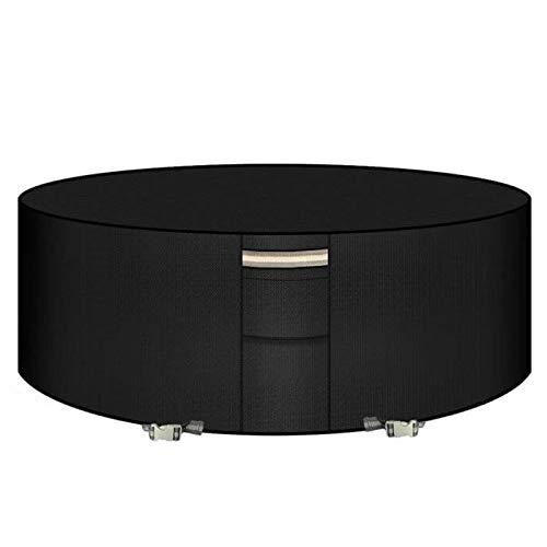 PATIO PLUS - Funda para mesa redonda (190 x 71 cm, impermeable, antirrayos UV, 600D, tela Oxford, cubierta para muebles de jardín, color negro BLCFC190-BK