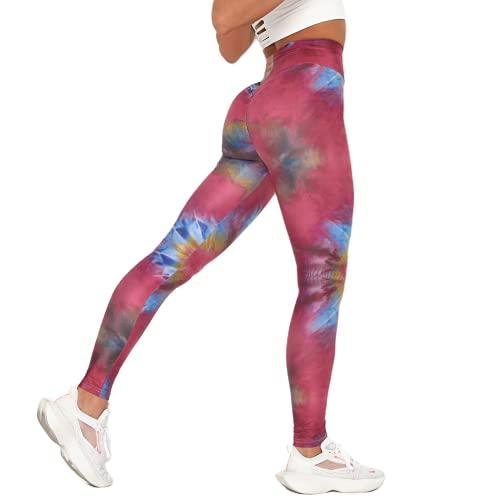 QTJY Leggings Coloridos de Gimnasio para Mujer, Pantalones de Yoga para Mujer, Pantalones Deportivos para Correr, Mallas de Yoga, Color Mezclado, Ropa para Correr E XL