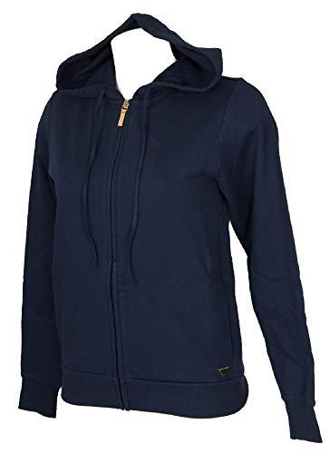 Emporio Armani Damen-Strickjacke mit Reißverschluss und Kapuze, langärmliger Freizeit-Loungewear-Artikel 163836 8A251