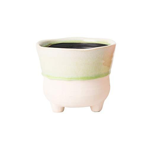 Jren-zk Mini Maceta, Oficina de la decoración del hogar Tiesto de cerámica de Color Estable Macetas trípode Base Tiesto (Color : A)