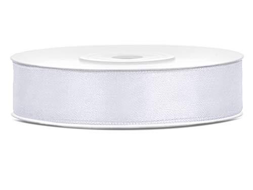 DaLoKu Satinband 6/12/25/38/50/100mm x 25m Geschenkband Schleifenband, Größe: 12mm x 25m, Farbe: Weiß
