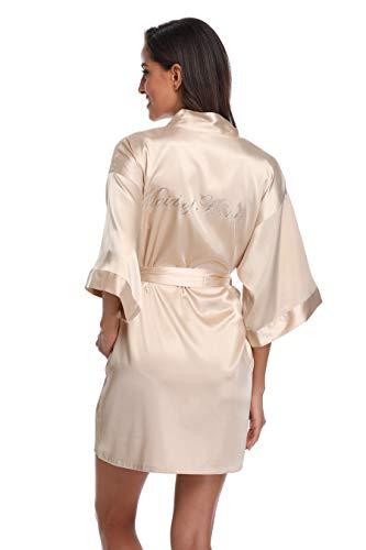 Seidiger Kimono-Bademantel für Damen, für Braut, Brautjungfer, mit goldenem Glitzer - - Large