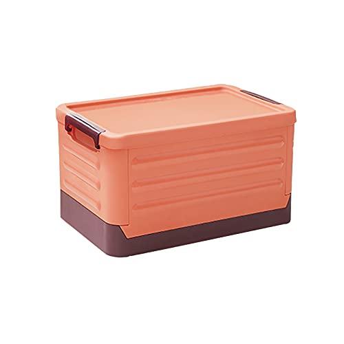 Cajas de Almacenamiento Plegables con Tapa,Apilable Contenedore Baúl,Duradera Plástico Cajas de Utilidad Plegable Multifuncional Cubos de Almacenaje Organizador para Comestibles-Naranja 55l(21x14x11in