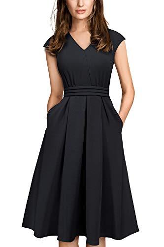 HOMEYEE Damen Vintage 50er Cap Sleeve Cocktail Retro mit Pocket Flared Kleid A196 (M, Schwarz)