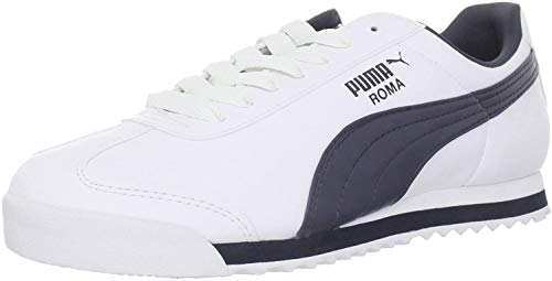PUMA Men's Roma Basic Fashion Sneaker, White/New Navy - 9 D(M) US