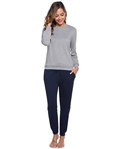 Aibrou Damen Lang Pyjama Set, Zweiteiliger Rundhals Schlafanzug Langarm Shirt und Pyjamahose Marineblau L