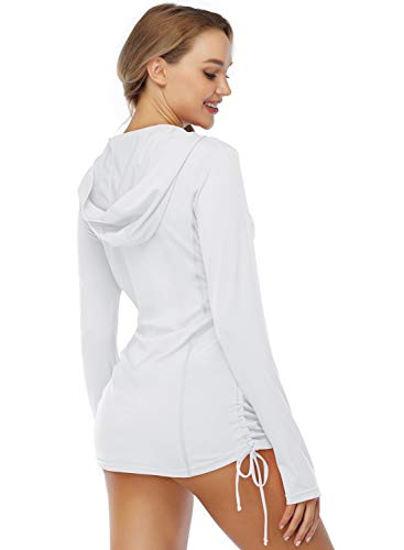 HISKYWIN Womens Hoodie Thumb Hole UV Sun Protection Rash Guard Side Adjustable Wetsuit Swimsuit Top HF814-White-M