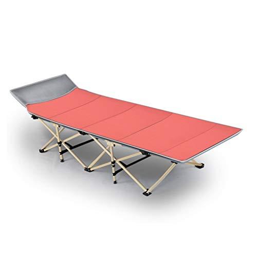 UCYG Cómoda Cama Plegable Camping Individual, Cama Plegable Niños 1 Plazas Armadura de Metal, Carga Máx 200 kg, 190x67x35cm (Color : Red)