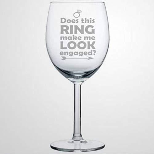 ¿Hace este anillo que me vea comprometida copa de vino, soplado a mano para inauguración de la casa, perfecto para bodas, fiestas de cumpleaños, aniversario, 17 onzas