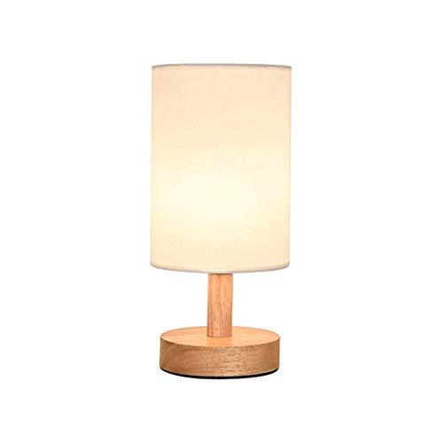 NXYJD Lámpara de escritorio de madera, mesita de noche, lámpara de mesa con pantalla de tela blanca, lámpara de noche moderna para el dormitorio, mesa auxiliar, cortijo, habitación, dormitorio univers