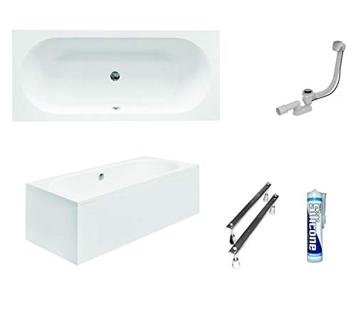 ECOLAM Badewanne Wanne Rechteckbadewanne für Zwei Modern Design Acryl weiß Vitae 180x80 cm + Schürze Ablaufgarnitur Ab- und Überlauf Automatik Füße Silikon Komplett-Set