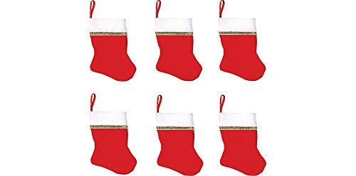 Santa Mini Felt Stockings, Value Pack, 6 Ct. | Chrismas Decoration
