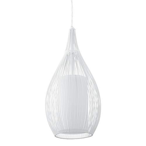 EGLO Lustre Razoni, Suspension Moderne à Flamme, Matériau : Acier, Verre : Satiné, Couleur : Blanc, Douille : E27