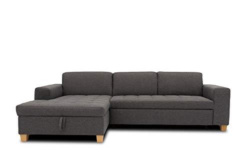 DOMO. collection Sugar Ecksofa, Sofa in L-Form, Eckcouch Polstergarnitur, anthrazit, 266x162x80 cm