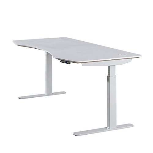 ApexDesk Elite Series 60' W Electric Height Adjustable Standing Desk (Memory Controller, 60' White Top, Off-White Frame)