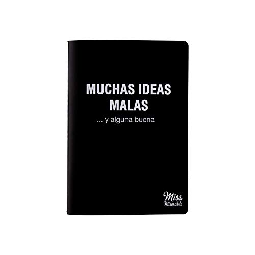 Milimetrado 105129 Miss Miserable - Cuaderno A5 Muchas ideas malas y alguna buena - Regalo práctico con frases graciosas, Negro con Letras Blancas