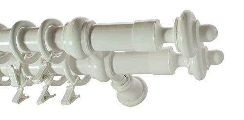 2-läufig Gardinenstange aus Holz 28/28mm Holzgardinenstange Weiß 150 cm