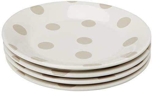 Kate Spade New York 879363 Deco Dot - Platos de ensalada (4 unidades), color beige