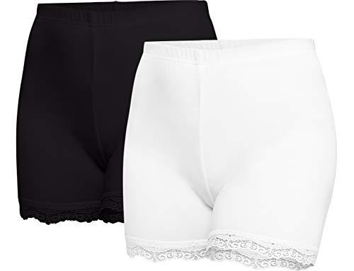 Merry Style Damen Shorts Radlerhose Unterhose Hotpants kurze Hose Boxershorts aus Viskose 2 Pack MS10-294 (Schwarz/Weiß(2Pack), 4XL)