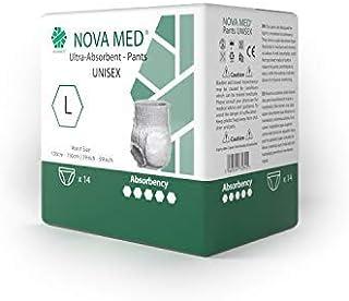 Novamed Almohadillas para incontinencia, pañales para adultos – 14 por paquete (grandes) – absorción de 1950 ml