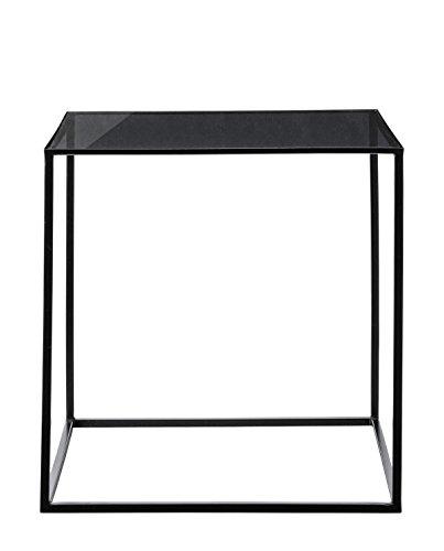 Bloomingville Beistelltisch Coffeetisch Couchtisch Tisch Cube mit Glasplatte W50xL50xH50cm