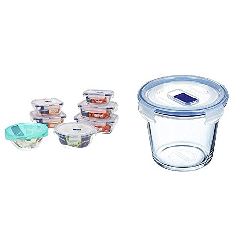 Luminarc Pure Box Active Set 7 recipientes herméticos de Vidrio, Extra Resistentes, Sin BPA + Pure Box Active Recipiente hermético de Vidrio, Redondo, tamaño 0,84 litros