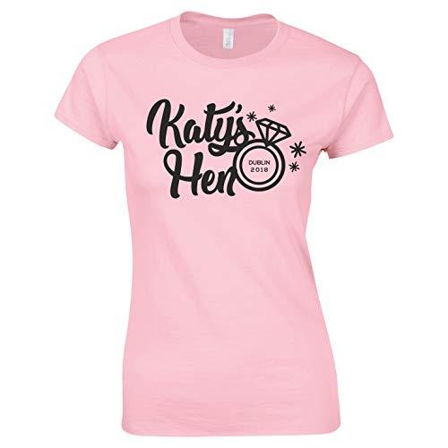 Camisetas personalizadas con diseño de anillo de nombre y ubicación para despedida de soltera, Gallina del equipo (rosa claro), 36