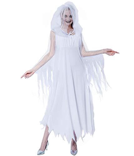 EraSpooky Costume da Fantasma da Donna Sposa di Bianco Mantello con Cappuccio Mantello Vestito Operato Carnevale Cosplay Halloween Party Outfit per Adulto