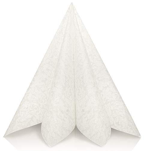 GRUBly Servietten Hochzeit Weiss | Stoffähnlich [50 Stück] | Hochwertige Hochzeitsservietten, Weisse Tischdekoration für Geburtstag, Feiern, Weihnachten | 40x40cm | AIRLAID QUALITÄT