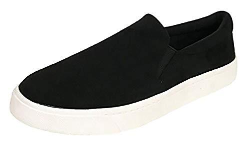 Soda Reign Slip On Faux Suede Sneaker, Closed Toe w/Memory Foam Insole (11, Black)