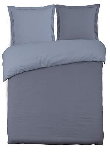 Vission - Juego de Funda nórdica Reversible 100% algodón, 1 Funda nórdica de 220 x 240 cm y 2 Fundas de Almohada de 65 x 65 cm, Color Gris y Gris Perla