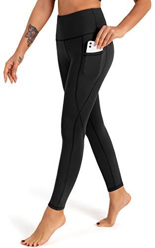 FIGESTIN Damen Yogahose mit Taschen,Hohe Taille Sport Leggins Lange Yoga Pants Blickdicht Yogatights Fitnesshose Schwarz