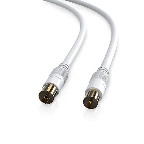 conecto HQ TV Antennenkabel Anschlusskabel - für DVB-C, DVB-T/T2-4K UHD 1080p Full HD HDTV 3D - (Koaxialkabel, TV-Stecker - TV-Buchse, doppelte Schirmung, vergoldete Stecker) weiß 2,0m