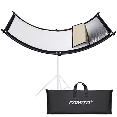 Fomito Clamshell Light Reflector 70x25.6 inch/178x65cm Arclight Curved Eyelighter Lighting Diffuser for Photography Stuido Filming Shooting, Black/White/Gold/Silver