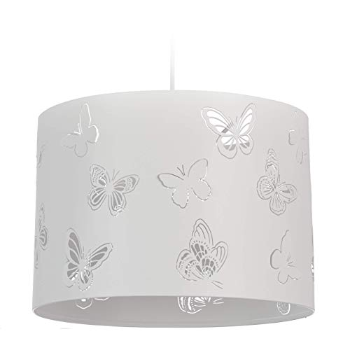 Relaxdays Lámpara Colgante, Mariposas, Iluminación de Techo, Un Foco, Metal, E27, 35,5 cm, Blanco