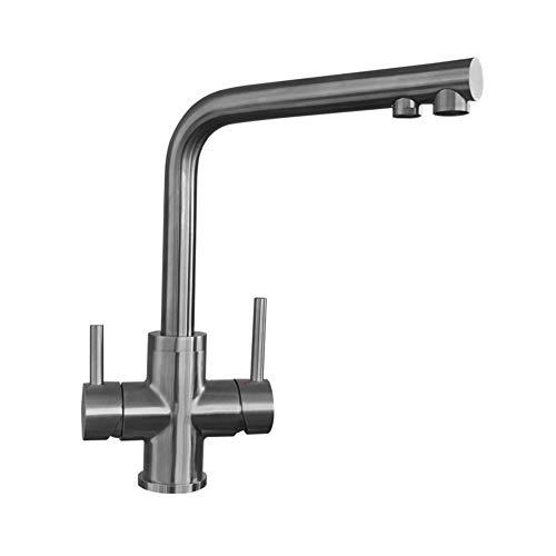 Grifo de 3 vías Avera con aspecto de acero inoxidable, grifo de 3 vías para filtro de agua, grifo de cocina para filtro de ósmosis, grifo de agua potable, grifo de cocina de 3 vías