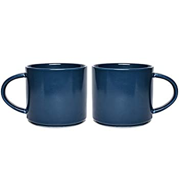 Bosmarlin Matte Ceramic Coffee Mug Set of 2 for Office and Home 13 oz Dishwasher and Microwave Safe  Navy Blue 2