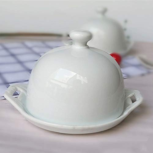 Hand Made White Butter Dish with Lid, Ceramic Butter Container for Cakes and Snacks, Butter Dish Is a Best Gift for Friends and Family Easy To Clean