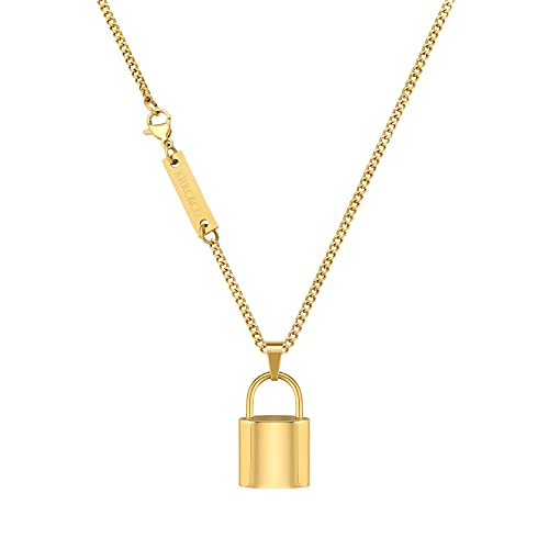 KRKC&CO - Colgante de candado para hombre, 2 mm, 61 cm, cadena barbada con candado, chapado en oro/oro blanco de 18 quilates, cadena de oro, cadena de plata, estilo hip hop, punk, regalo para mujer,