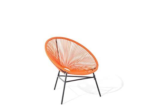 Beliani Lustiger Gartenstuhl Spaghetti Stil Rattan orange Acapulco