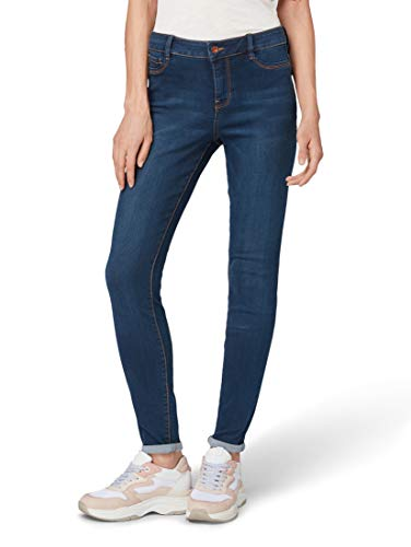 TOM TAILOR Denim Damen NELA_1012591 Skinny Jeans, Blau (Dark Stone Wash Deni 10282), 32W / 32L