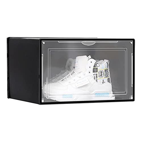 CHENSHJI Gavetas organizadoras de Zapatos apilables Caja de Zapato Lado Claro Flap Dormitorio apilable Sala de Estar Caja de Zapatos Delantera (Color : Black, Size : 36x28x22CM)