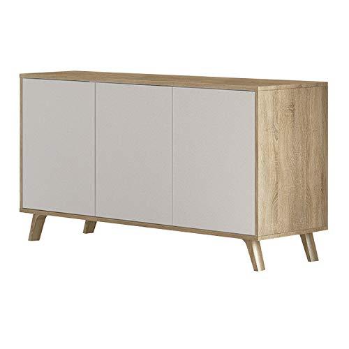 Mueble Aparador 3 Puertas, Buffet para Cocina y Comedor, Modelo Soto, Acabado en Color Cambria y Blanco, Medidas: 138 cm (Largo) x 39,5 cm (Fondo) x 70 cm (Alto)