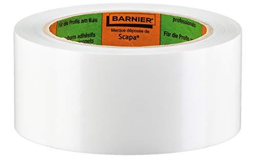 Barnier PVC Putzerband Typ 6096 | Schutzband 50 mm 33 m weiß glatt | PVC-Schutzband für glatte und leicht raue Untergründe | PVC Klebeband für Innen und Außen | Mehrzweck-Klebeband Verputzerband